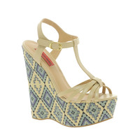 London Rebel Wedge Aztec Print Heeled Sandals