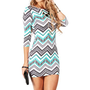 Ivory/Mint Zig Zag Aztec Scuba Dress