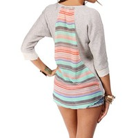 Heather Grey Stripe Back Sweatshirt