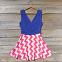 Firecracker Chevron Dress in Blue, Sweet Women's Bohemian Clothing