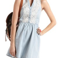 Crochet Panel Denim Shirt Dress: Charlotte Russe