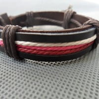 Real Leather Cotton Rope Woven Bracelets Adjustable by sevenvsxiao