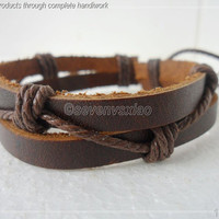 Leather and Rope Woven Bracelets Adjustable 46S by sevenvsxiao