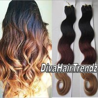 "14"", 16"" and 18"" Indian Remy 3 Shade Body Wave Ombre [Colors 1b/33/27] [3 Bundles]"