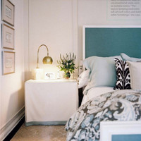 Bedroom with Colorful Headboard