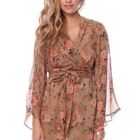 Carnation Bell Sleeve Dress in Camel :: tobi