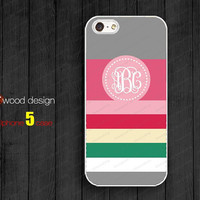 Rubber case  Monogram Iphone 5 case geometric beautiful colors Iphone 5 case unique case Hard case iphone 4 case
