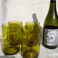Upcycled Wine Bottle Glasses made from Recycled Yellow Wine Bottles 12oz  Set of 4