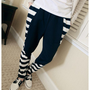 Navy Men Fashion Casual Zebra Stripe Splicing Cotton Long Pants M/L/XL 1516SJ-K-17n