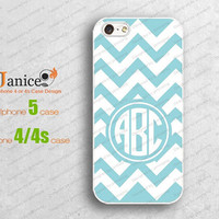 blue wave design monogrammed  iphone 4 cases, iphone cases 4,iphone 4 cover,personalized iphone cases 4,iphone 5 cases