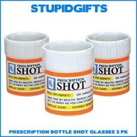 PRESCRIPTION PILL BOTTLE SHOT GLASS SET RX PARTY SHOOTERS FUNNY GAG GIFT 3 PACK