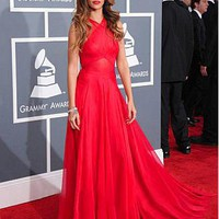 [489.99] Rihanna Silk-like Chiffon A-line Prom Dress Grammys 2013 Red Carpet Gown - Dressilyme.com