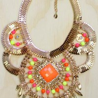 Gold Tone Necklace with Neon Bead Detail