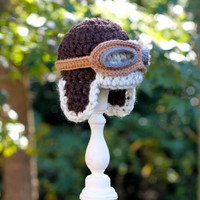 Crochet Baby Aviator Hat with Flying Goggles by GiggledPink