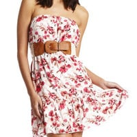 Charlotte Russe - Crochet-Belt Floral Dress