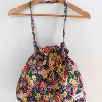 Floral Print Bag Vintage Hippie Purse Bag Tote Flowers Travel Bag Gym Bag Sale FREE SHIPPING