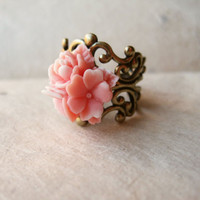 Pink Star Flower Ring by PiggleAndPop