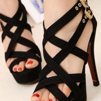 Ladies High Heel Fashion Evening Strappy Sandals