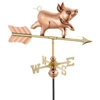 Good Directions Whimsical Pig Garden Weathervane - Polished | www.hayneedle.com