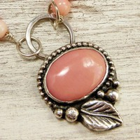 Pink Coral Necklace, Sterling Silver Gemstone Pendant Western Style