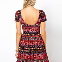 ASOS Skater Dress In Habanera Print