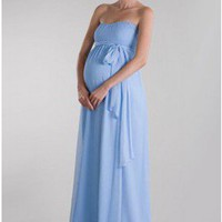 Gathered Empire Waist Chiffon Maternity Dress in Slight Sweetheart