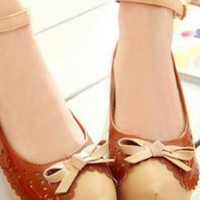 Ladies Hidden Wedge Heel Casual Summer Bow Shoes, Shoes