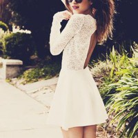 White Long Sleeve Lace Dress with Cut Out Open Back