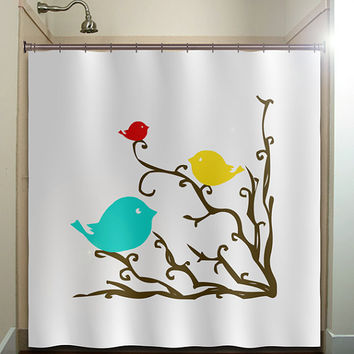 Red Yellow Blue Birds Brown Tree Branch From Tablishedworks On