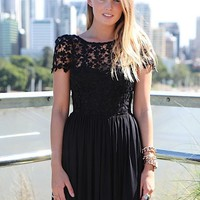 Black Floral Embroidered Lace Dress with Tulle Skirt