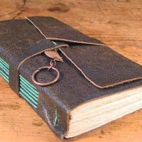 Repurposed Leather Journal with Teal Stitching 