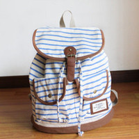 lovelala — cute vivi retro navy zebra stripe woman backpack/bag