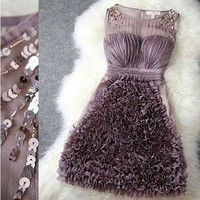 Spangle perl 3D flowers lace skirt-purple