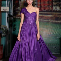 Greek Style One Strap Long Prom Dress Purple
