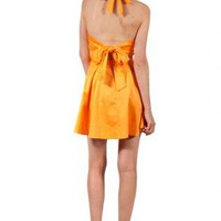 Orange Tie-back Dress with Lace Detail