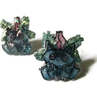 Ivysaur Pokemon Stud Earrings, Plastic, Glitter Coating, OOAK,Hypoallergenic Surgical Steel Posts, Made to Order