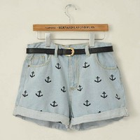 High Waisted Denim Short With Anchor Embroidery from Dextrad