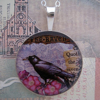 The Raven Poe collage sterling pendant by tartx on Etsy