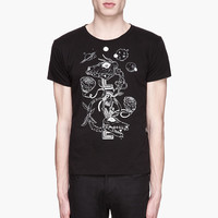 Saint Laurent Black And White Grimes Love Project Graphic T-shirt for men | SSENSE