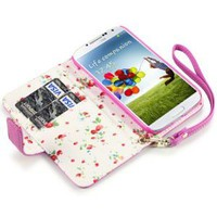 Amazon.com: Samsung Galaxy S4 Premium PU Leather Wallet Case (Hot Pink (Floral Interior)): Cell Phones & Accessories