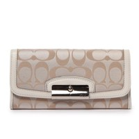 Coach Kristin Signature Sateen Slim Envelope Wallet Light Khaki/white F48981