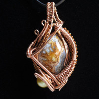Lace Agate Wire Wrapped Pendant in Copper with Cultured Pearl