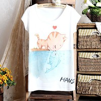 Cute Cat Printing Loose T-shirt For Women