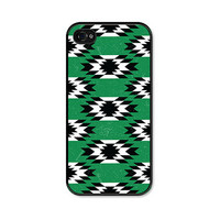 Emerald Green Boho Tribal iPhone 4 Case - Plastic iPhone 4 Cover - Geometric iPhone 4 Skin - Black White Cell Phone