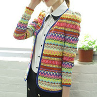 Cute Embroidery Rainbow Knitting Slim Wrap Cardigan