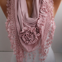 NEW- Soft Pink  Jersey Rose Shawl/ Scarf -Headband -Cowl with Lace trim-- DIDUCI