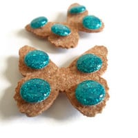 Teal Glittered Push Pins Glitter Thumb Tacks Set of 8