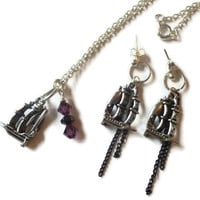 Pirate Ship Jewellery Set, Necklace, Earrings with Metal Sailing Boat Charms, Hematite Beads and Purple Crystals.