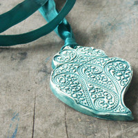 Heart pendant, jewelery ceramic textured in shades of jade