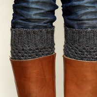 Crochet Boot Cuffs in Dark Slate Grey/Gray by LumiStyle on Etsy